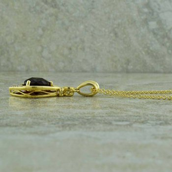 Garnet and Diamond 14K Yellow Gold Pendant