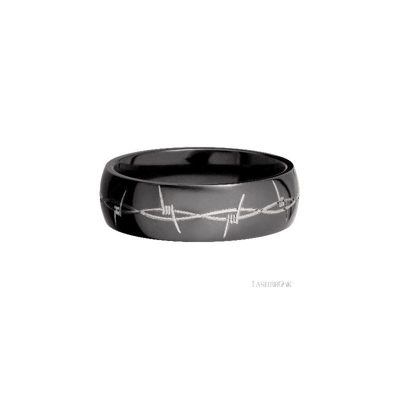 Lashbrook Designs Zirconium Band with Barb Wire Pattern
