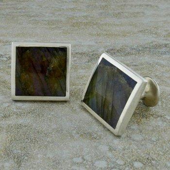 Square Labradorite Cufflinks