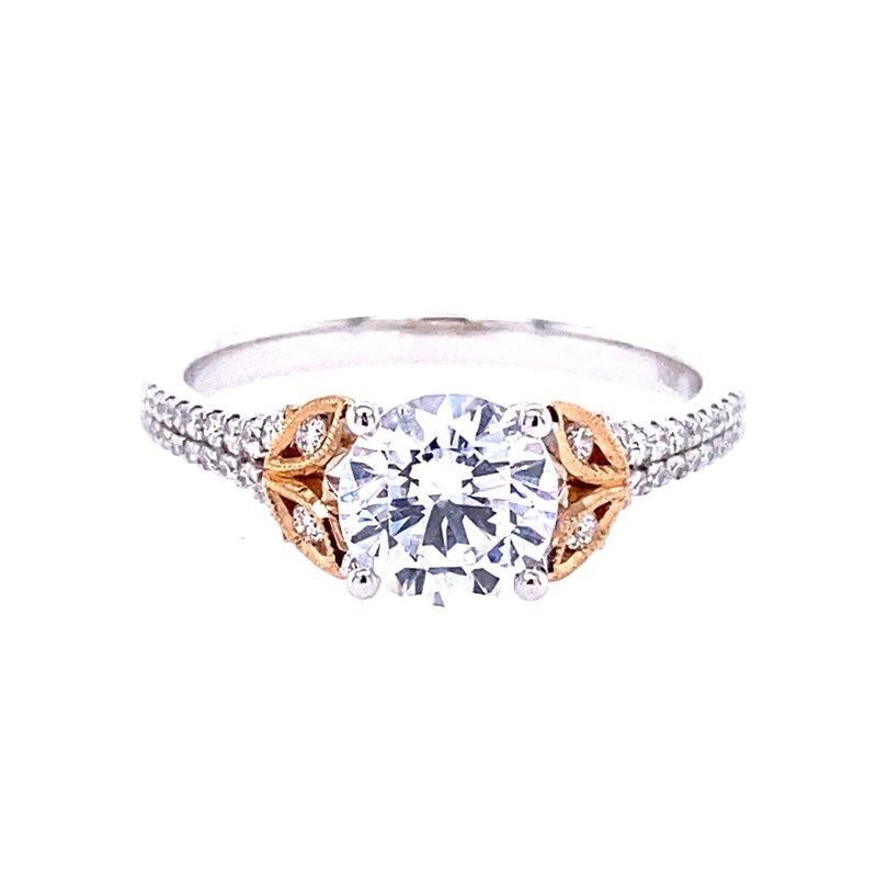 Simon G IN-STORE COLLECTION White and Rose Gold Nature Inspired Engagement Ring