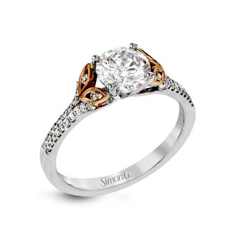 White and Rose Gold Nature Inspired Engagement Ring