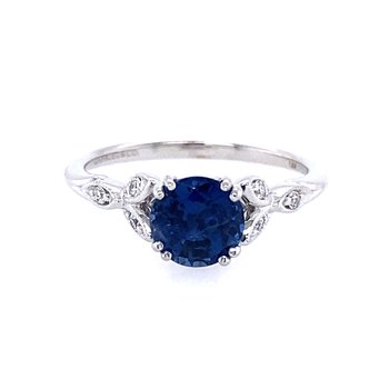 Sapphire and Diamond Leaf Ring
