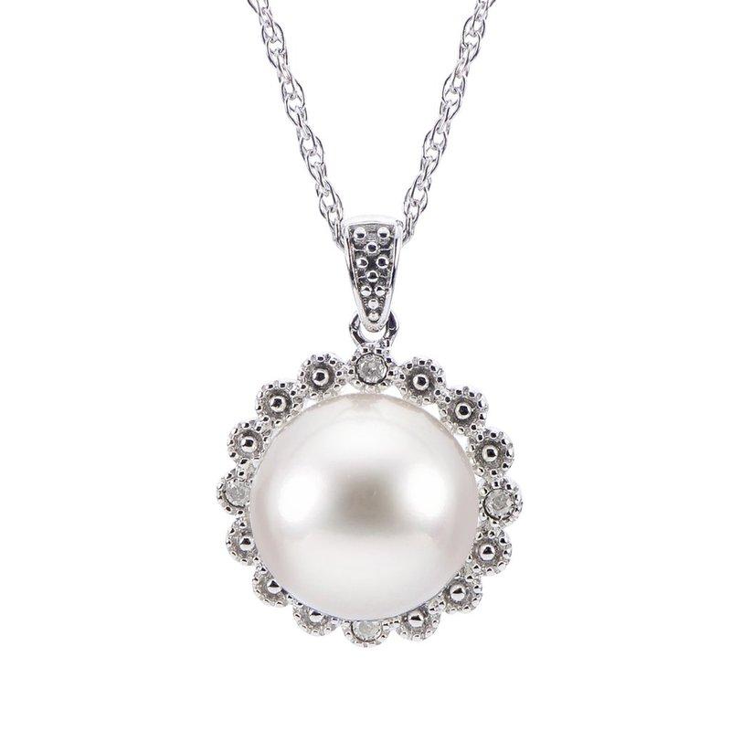Imperial Pearl Button Pearl Halo Pendant