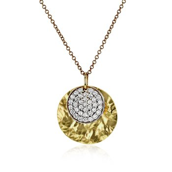 Circle Diamond and Yellow Gold Necklace