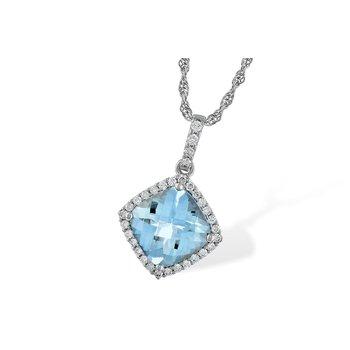 Aqua Pendant with Diamond Halo