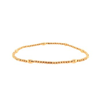 2mm Yellow Gold Filled and Orzo Pattern Bead Bracelet