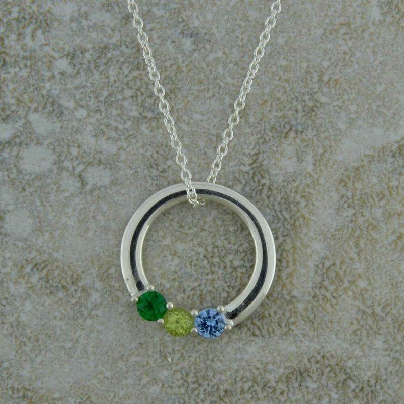 B&C Collections Circle Gemstone Pendant for Three Stones