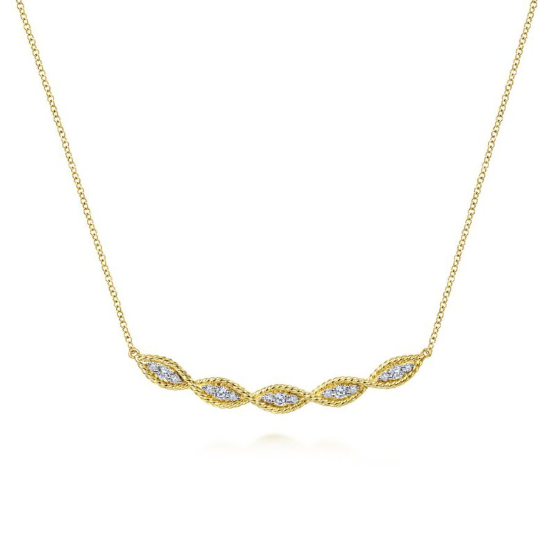 Gabriel & Co. -  IN-STORE COLLECTION Diamond Twist Bar Necklace