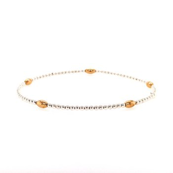 Stretch 2mm Sterling Silver and Yellow Gold Filled Bead Bracelet