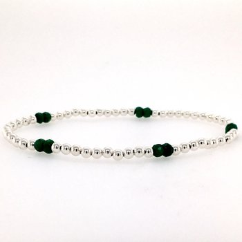 Stretch 3mm Sterling Silver and Emerald Bead Bracelet