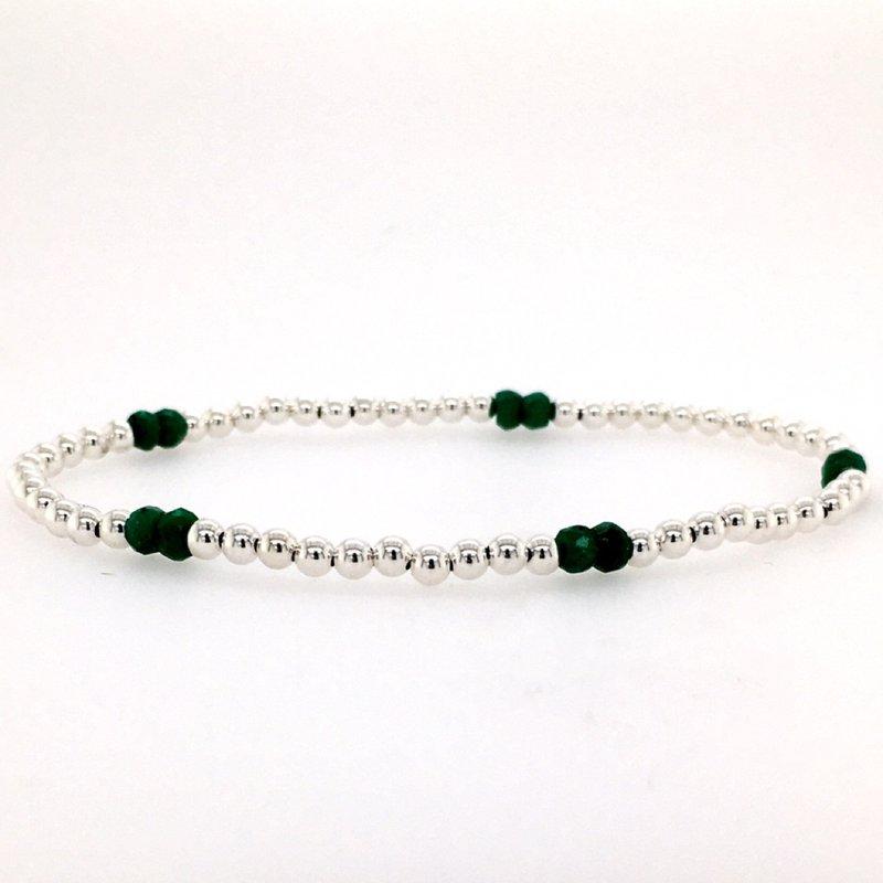 Karen Lazar Stretch 3mm Sterling Silver and Emerald Bead Bracelet