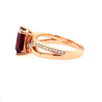 Garnet & Diamond Twist Ring