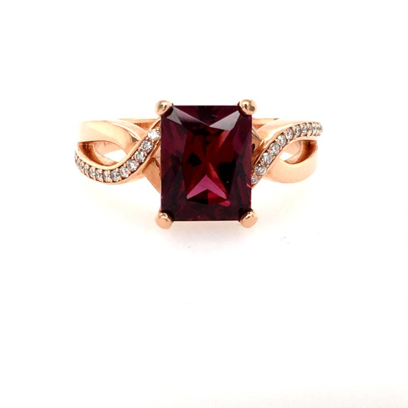 B&C Creations Garnet & Diamond Twist Ring