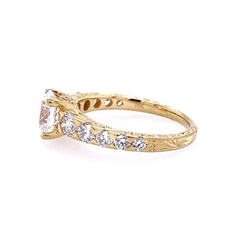 Yellow Gold and diamond Engagement Ring