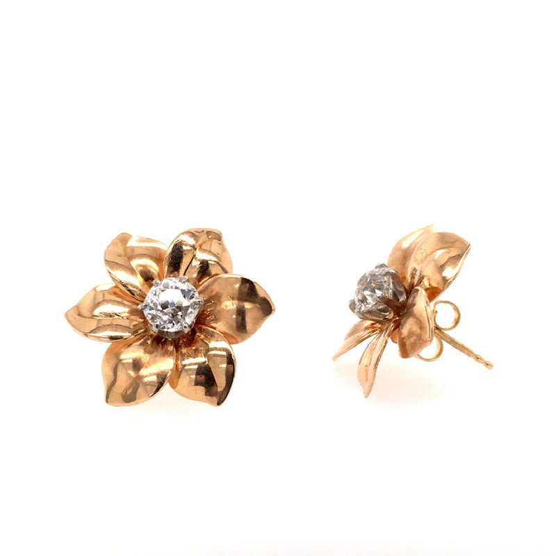 B&C Estate Collection Diamond Floral Earrings