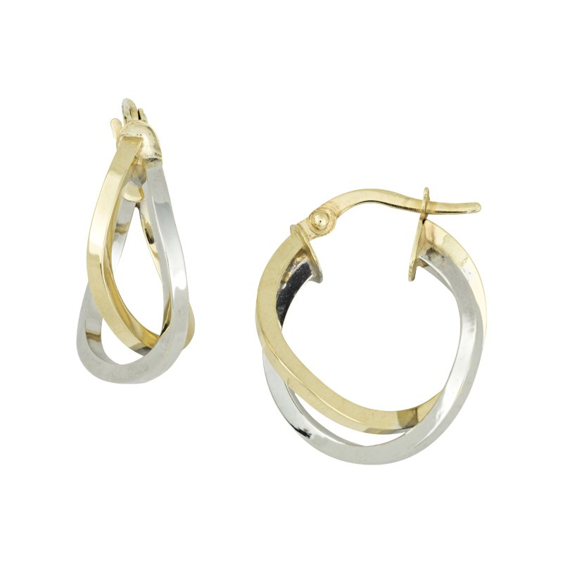 B&C Collections Bi Colored Crossover Hoops
