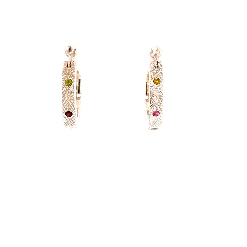BRIAN'S VAULT Multi Colored Tourmaline Hoops