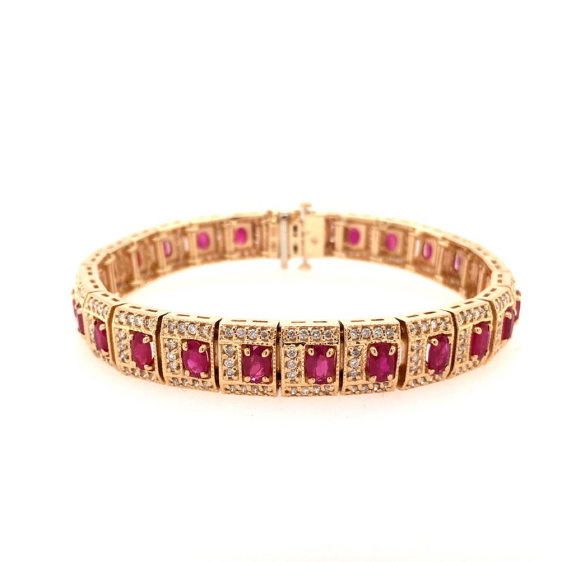 B&C Estate Collection Natural Ruby and Diamond Link Bracelet
