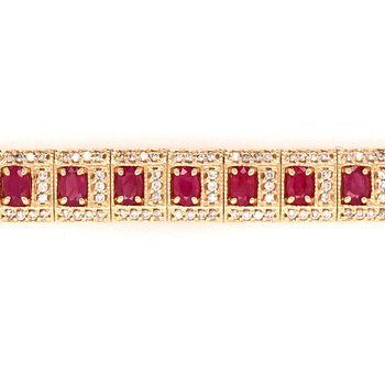 Natural Ruby and Diamond Link Bracelet