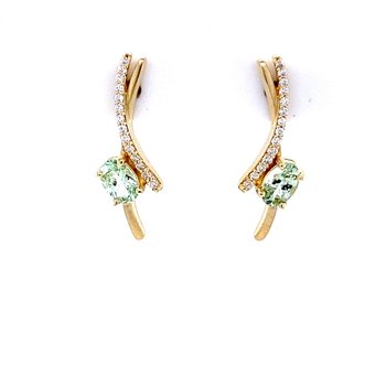 Mint Garnet and Diamond Earrings