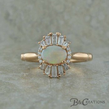 Opal and Baguette Ring