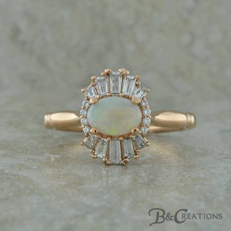 B&C Creations Opal and Baguette Ring