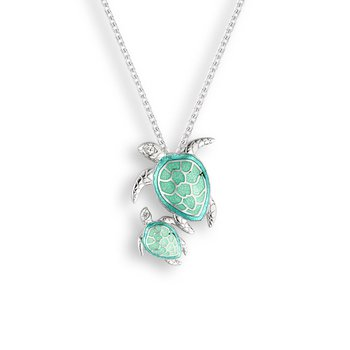 Seafoam Turtles Necklace