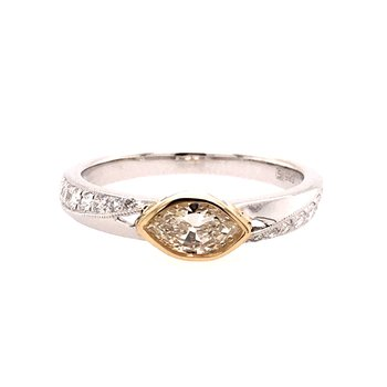 14 Karat White and Yellow Gold Marquise Diamond Engagement Ring