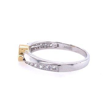 14 Karat White and Yellow Gold Marquise Diamond Engagement Ring