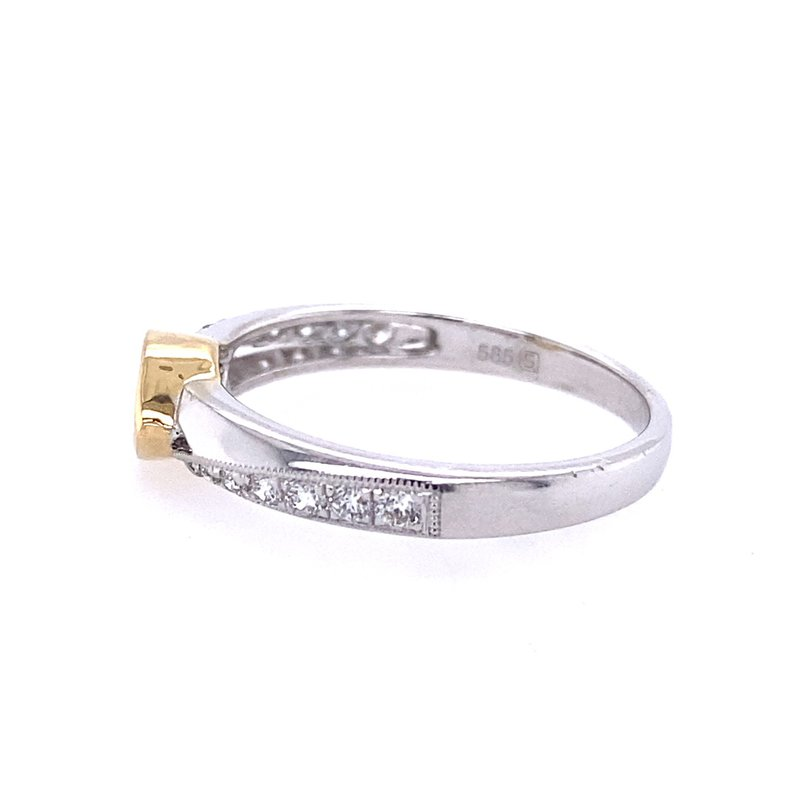 B&C Collections 14 Karat White and Yellow Gold Marquise Diamond Engagement Ring