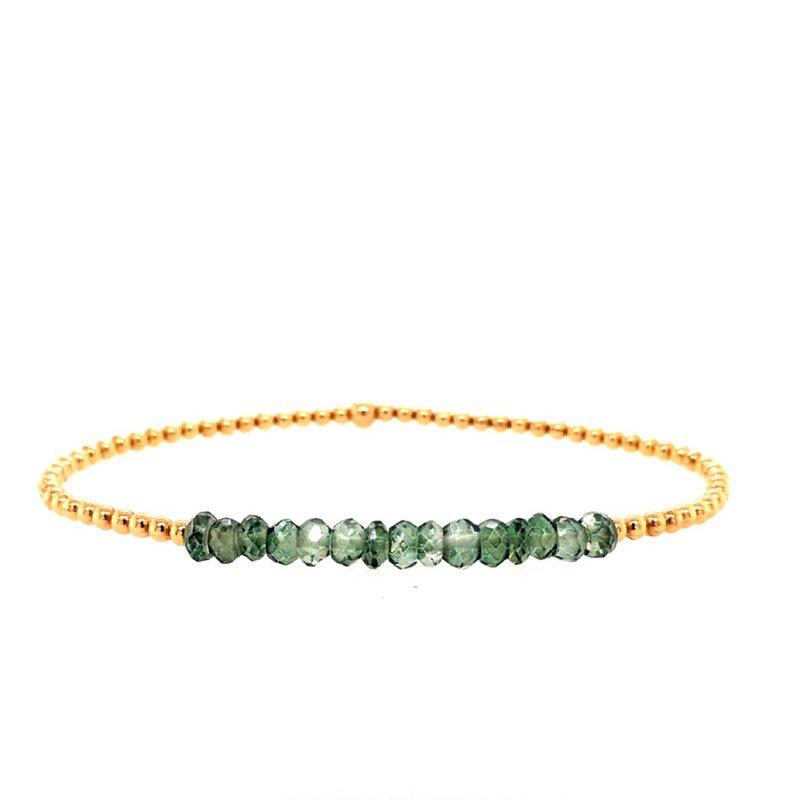 Karen Lazar 2mm Yellow Gold Filled and Green Topaz Bead Bracelet