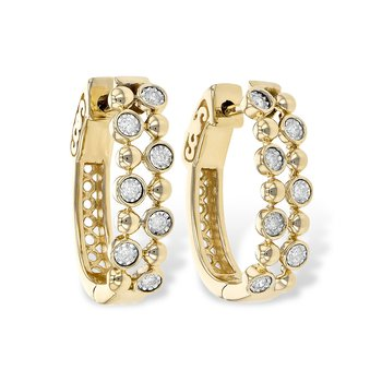 Diamond and Gold Modern Hoops