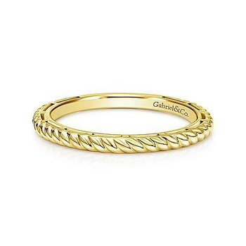 Gold Twisted Rope Stackable Band
