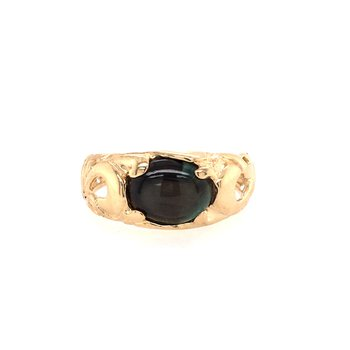 14K Yellow Black Star Sapphire Ring