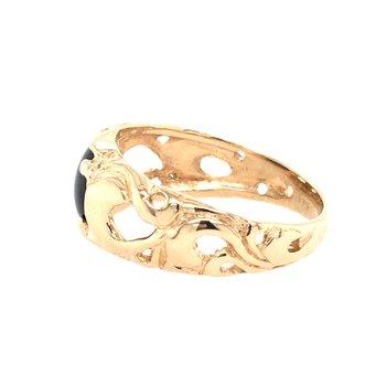 14K Yellow Black Star Sapphire Ring