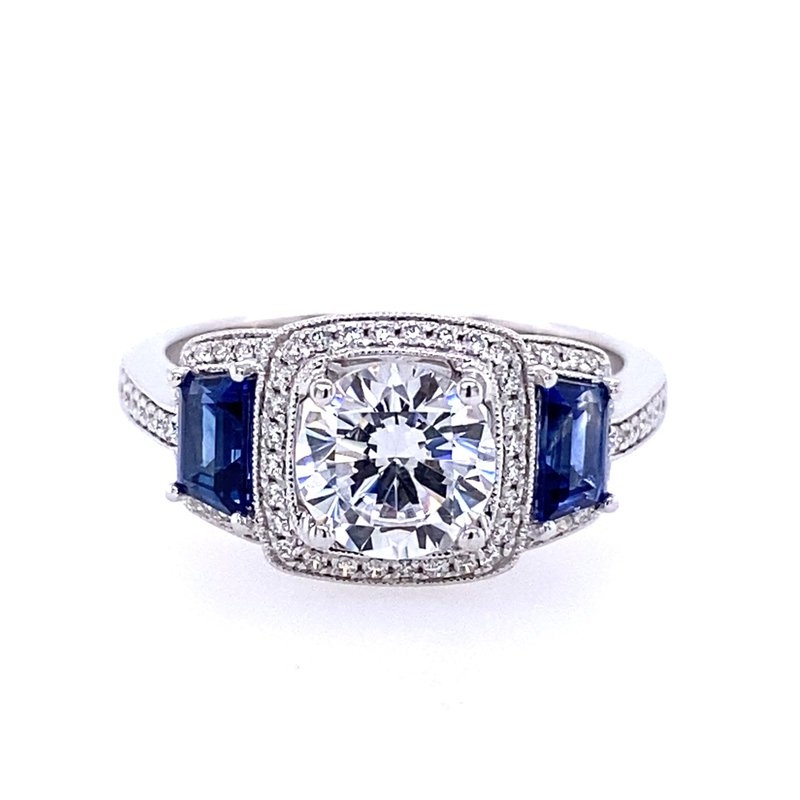 Simon G IN-STORE COLLECTION Diamond Engagement Ring with Sapphire Sides