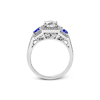 Diamond Engagement Ring with Sapphire Sides