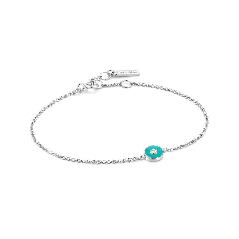 Ania Haie Teal Enamel Disc Bracelet