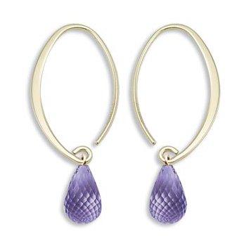 Simple Sweep Amethyst Earrings