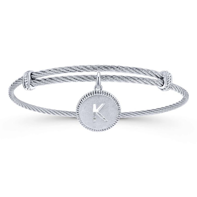 """Gabriel & Co. -  IN-STORE COLLECTION Initial """"K"""" Charm Bangle"""