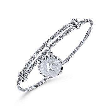 "Initial ""K"" Charm Bangle"
