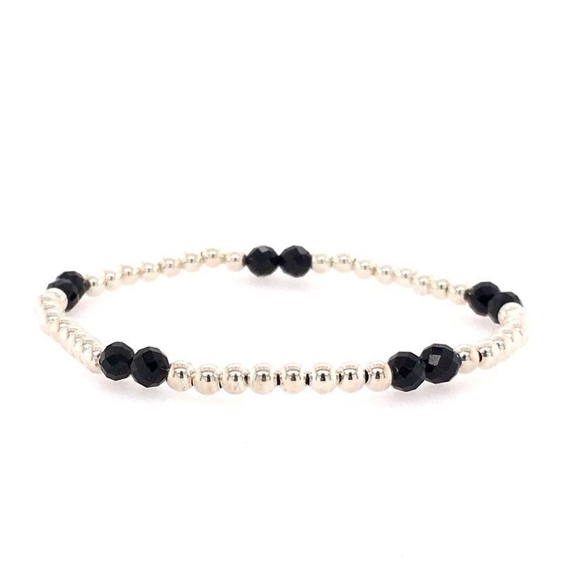 Karen Lazar Stretch 3mm Sterling Silver and Black Spinel Bead Bracelet
