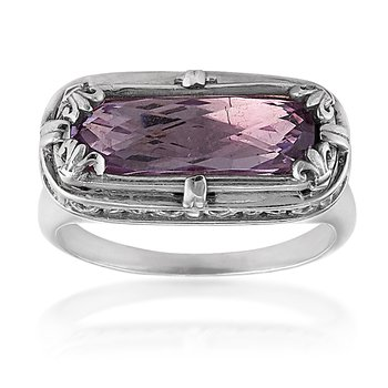 Rectangular Lavender Amethyst Ring