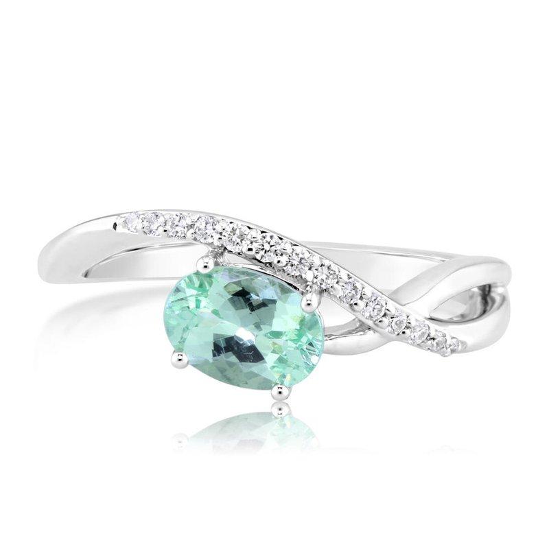 Parlé 4K White Mint Garnet & Diamond Ring