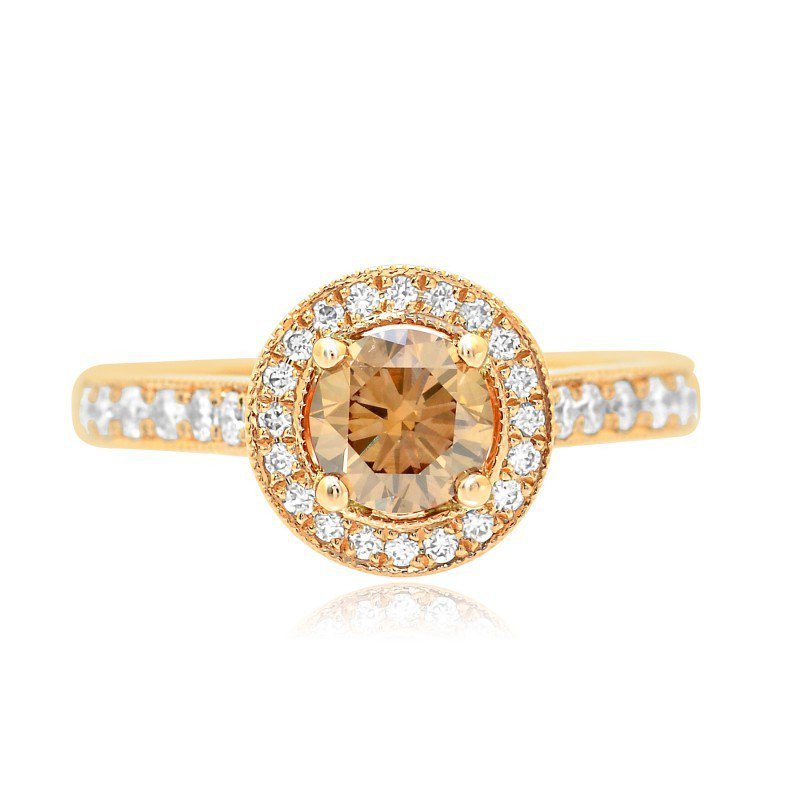 Rose Gold Fancy Brown Round Brilliant Diamond Milgrain Halo Ring