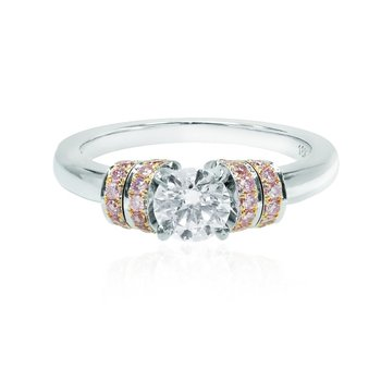 White and Pink Diamond Pave Ribbon Ring