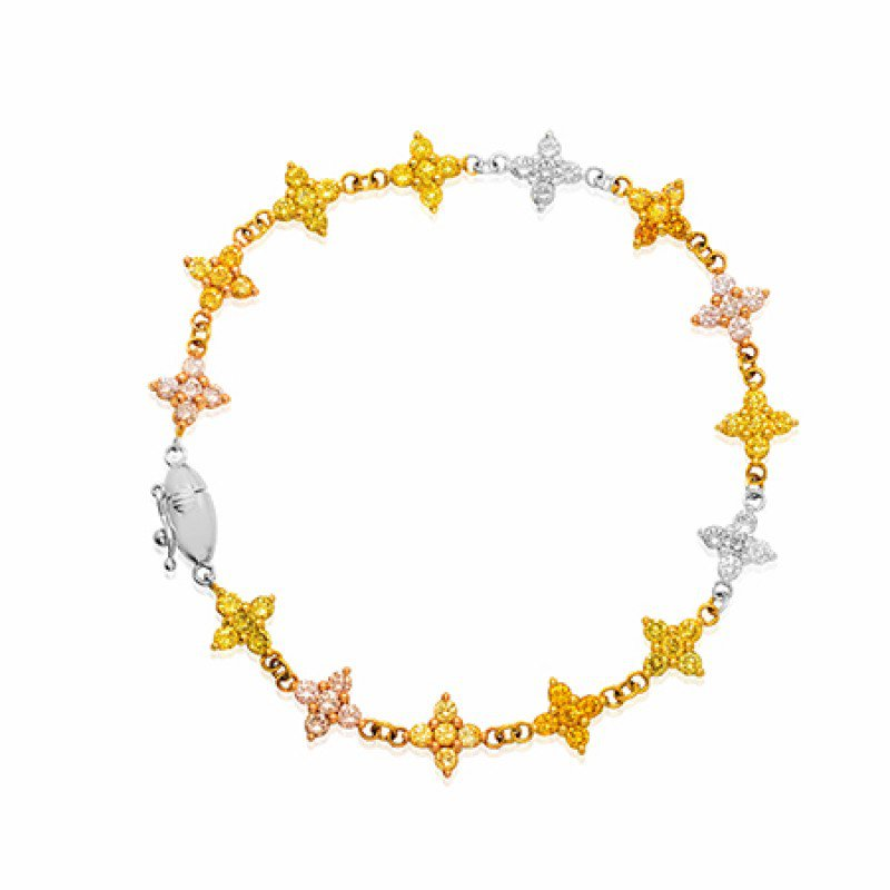 Multicolor and 18K White, Rose and Yellow Gold Diamond Bracelet