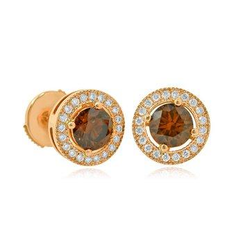 Rose Gold Fancy Brown Round Brilliant Diamond Milgrain Halo Earrings