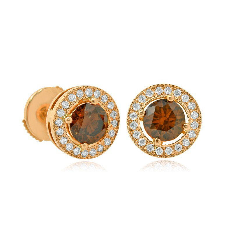 Jordan Widdes Creations Rose Gold Fancy Brown Round Brilliant Diamond Milgrain Halo Earrings
