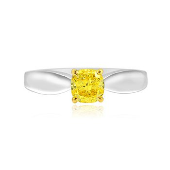 Fancy Intense Yellow Cushion Diamond Bowed Solitaire Ring,